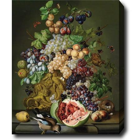 Idea Factory Sebastian Wegmayr 'Still Life with Flowers, Fruits and A Jar' Hand-painted Oil on Canvas - Multi
