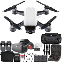 DJI Spark Portable Mini Drone Quadcopter Fly More Combo (Alpine White) + DJI Goggles (Racing Edition) Virtual Reality VR FPV POV Experience Bundle