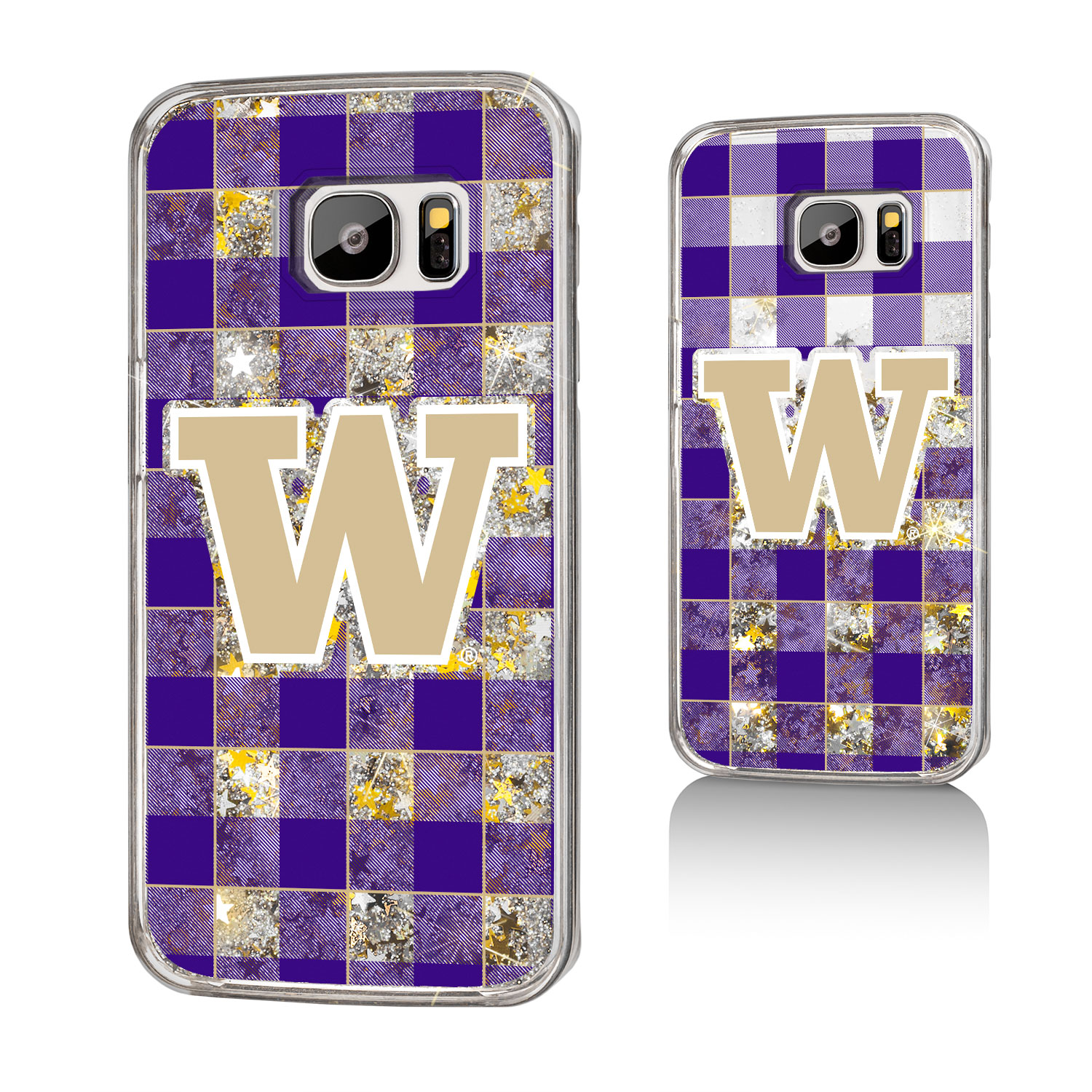 UW Washington Huskies Plaid Glitter Case for Galaxy S7