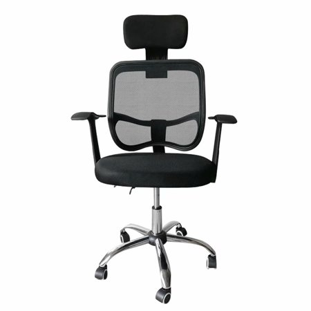 Fabric Armrests (Adjustable Swivel Computer Desk Chair Fabric Mesh Office Chair with Headrest & Armrests)