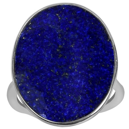 9.50 Carat T.G.W. Lapis Sterling Silver Large Oval Shape Gemstone Ring