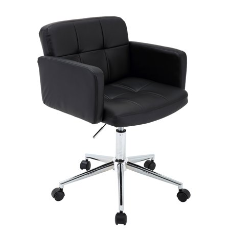Wheeled Office (Porthos Home Adjustable Height Tufted Faux Leather Low Back Office Desk Chair with Arms and Optional Caster Wheels, Easy)
