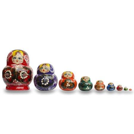Set of 9 Rainbow Russian Nesting Dolls Matryoshka 4.75 Inches