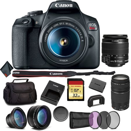 Canon EOS Rebel T7 DSLR Camera Bundle with 2 Lenses + Angle Lens + More