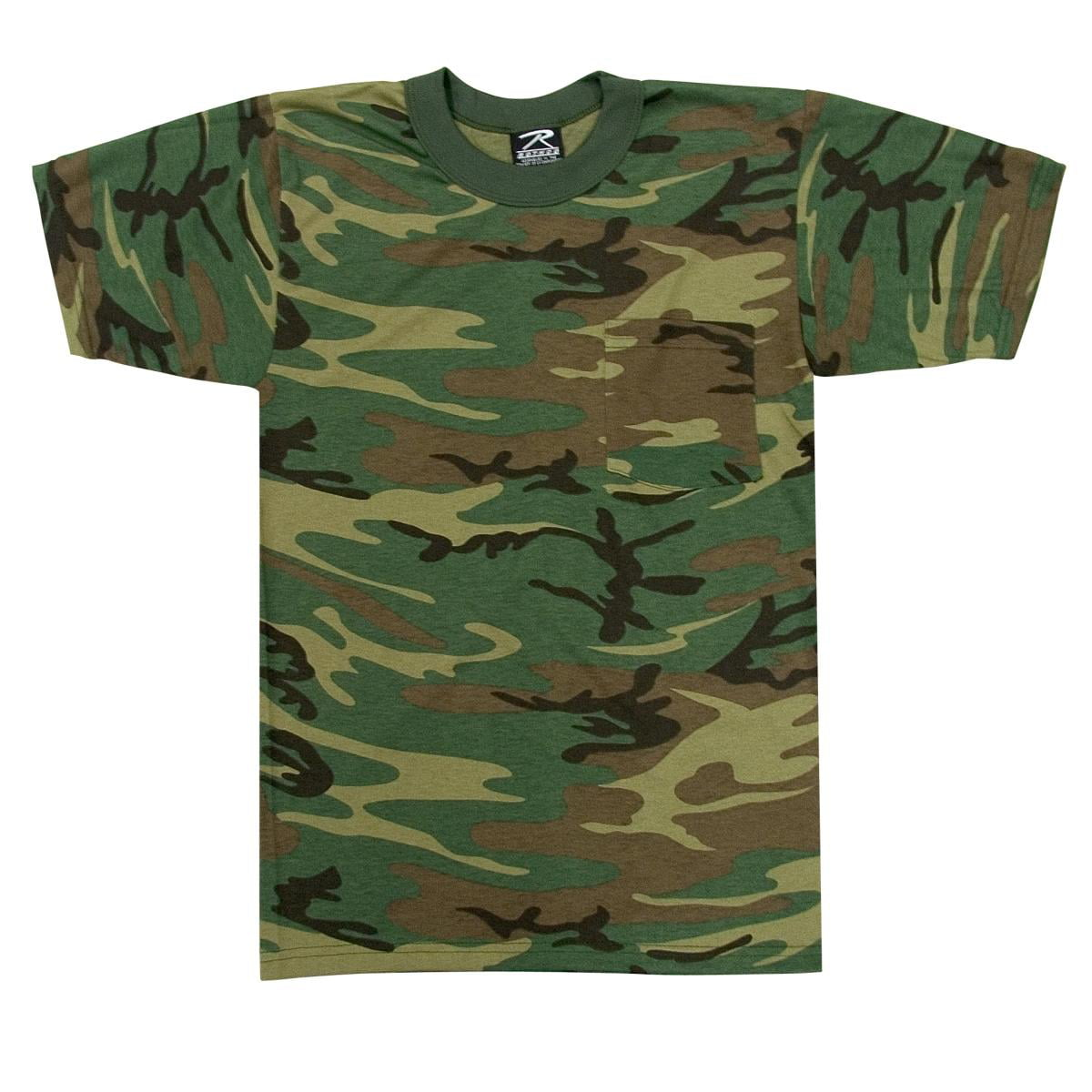 8a5005b7b0a3 Woodland Camouflage T-Shirt with Pocket - Size Large - Walmart.com