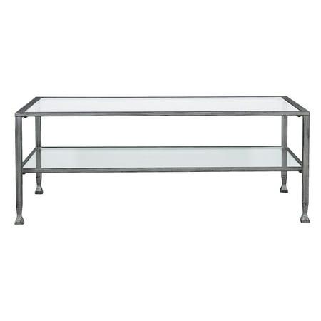 Southern Enterprises Jaymes Metal / Glass Rectangular Open Shelf Cocktail Table Black Oval Cocktail Table