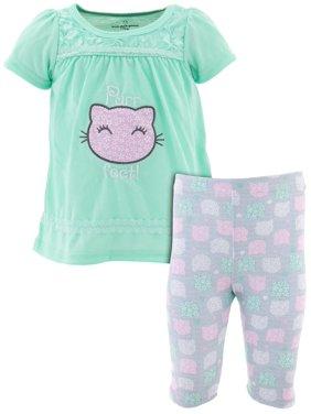 Duck Duck Goose Little Girls' Purr-fect Cat Mint Pajamas