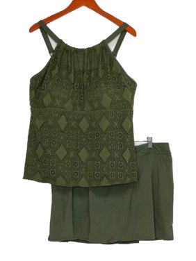 Denim & Co. Plus Sz Swimsuit 22W Beach Lace High Neck Top W/ Skirt Green A350350