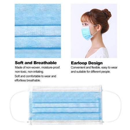 50PCS Disposable Mask Non-Woven Masks 3-Layer Comfortable Sanitary Mask Anti-dust Mouth Face Mask Blue - image 2 of 6