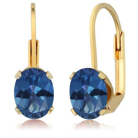 Fan Shape Earrings - 3.20 Ct Oval Shape Royal Blue Mystic Topaz Yellow Gold Earrings