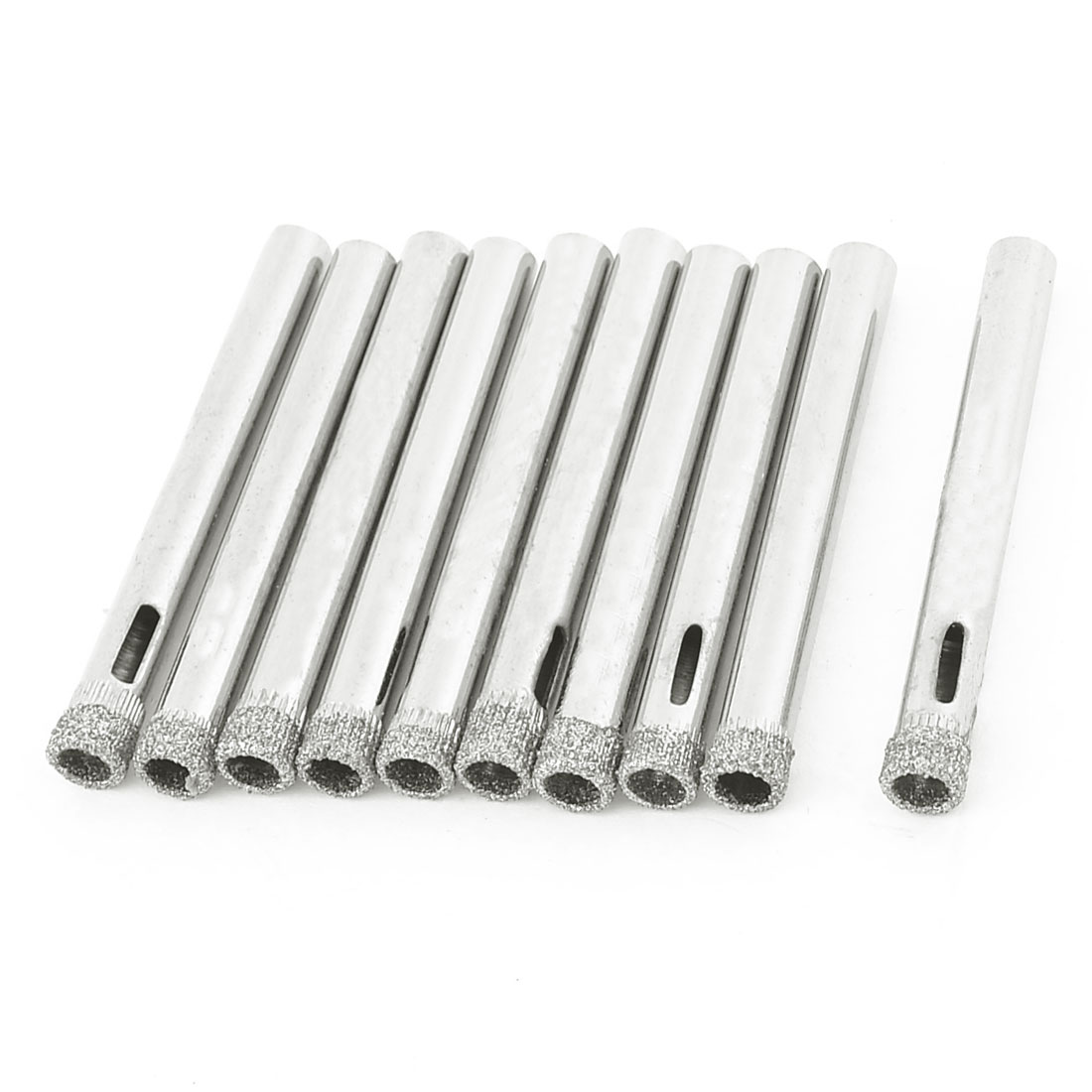 10 x 6mm Dia Diamond Coated Drill Bit Marble Tile Glass Hole Saw Silver Tone