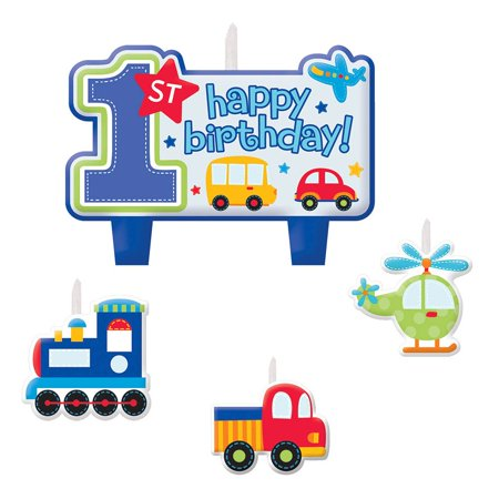 All aboard 1st birthday candle set 4 pack party for 1st birthday party decoration packs