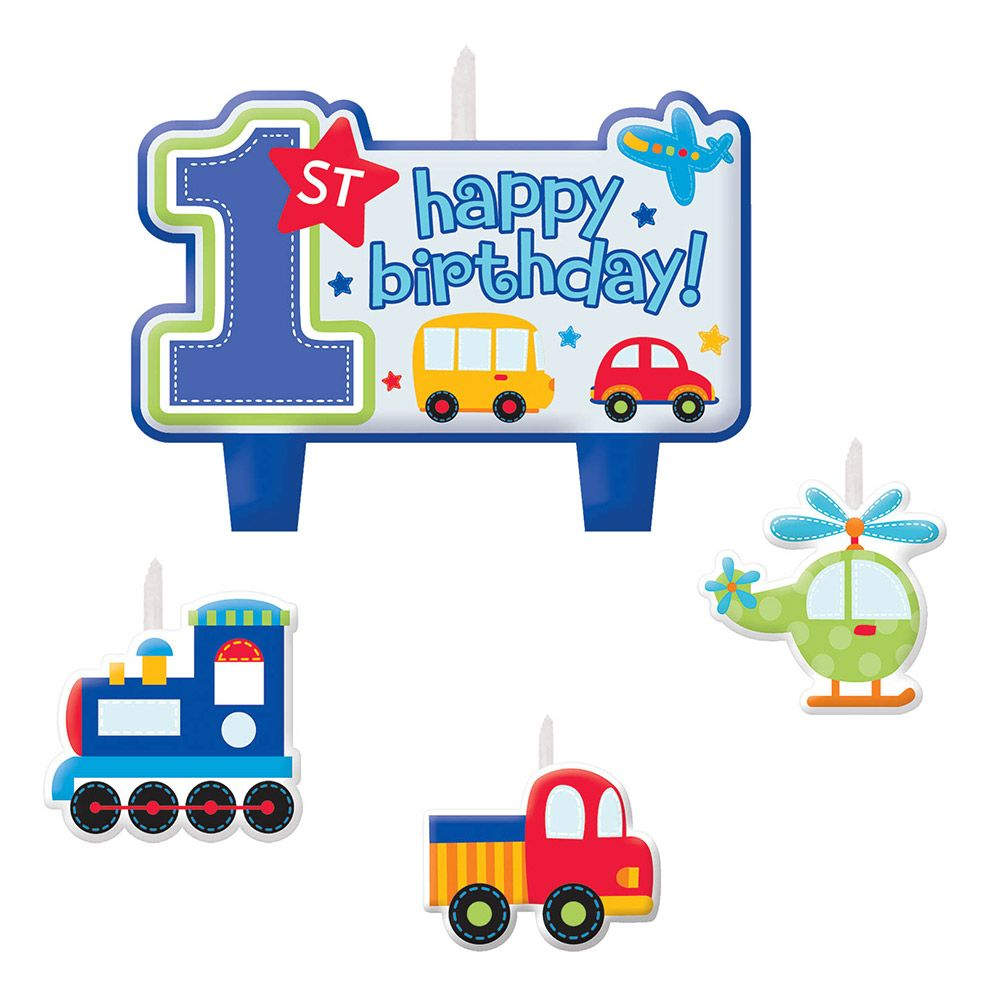 All Aboard 1st Birthday Candle Set (4 Pack) - Party Supplies