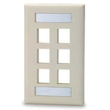 6 port Single Gang Keystone Faceplate w/ Labeling Windows, Mfr SIGNAMAX