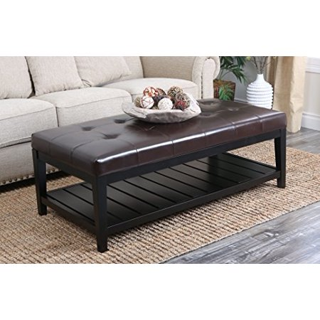 Abbyson living laurel dark brown bicast tufted leather coffee table ottoman Dark brown leather ottoman coffee table