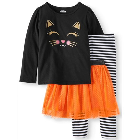Halloween Long Sleeve T-Shirt, Leggings & Glitter Tutu, 3pc Outfit Set (Toddler Girls) for $<!---->
