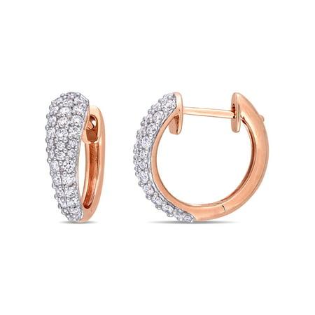 Miabella 1 Carat T.W. Diamond 14kt Rose Gold Hoop Earrings