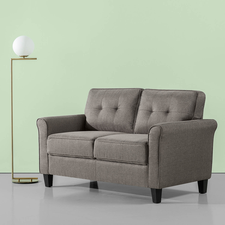 Zinus Traditional Loveseat, Sofa, Grey Weave
