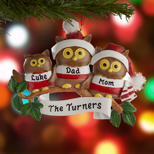 Personalized Owl Family Ornament, 3