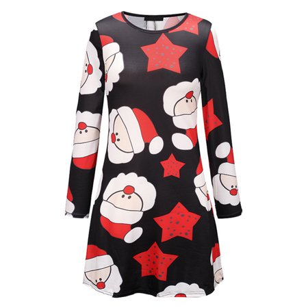 Ustyle Mother Kids Matching Outfits Long Sleeve Dress Christmas Pringting Short Dress - image 1 of 9