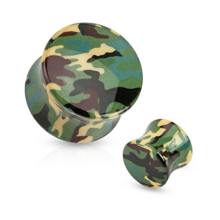 Pair Of Green Camouflage Printed UV Acrylic Saddle Fit Plugs,Gauge (Thickness):2 (6.5Mm)