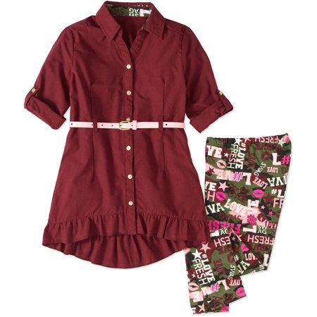 One Step Up Girls  Set An Example  Woven Belted Tunics With Printed Leggings Set