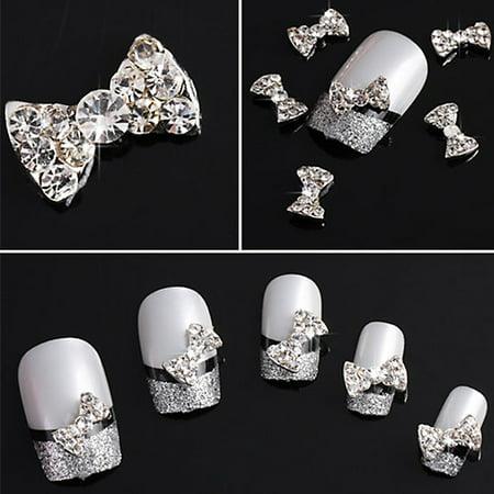 Micelec 10 Pcs 3d Clear Alloy Rhinestone Bow Tie Nail Art Slices