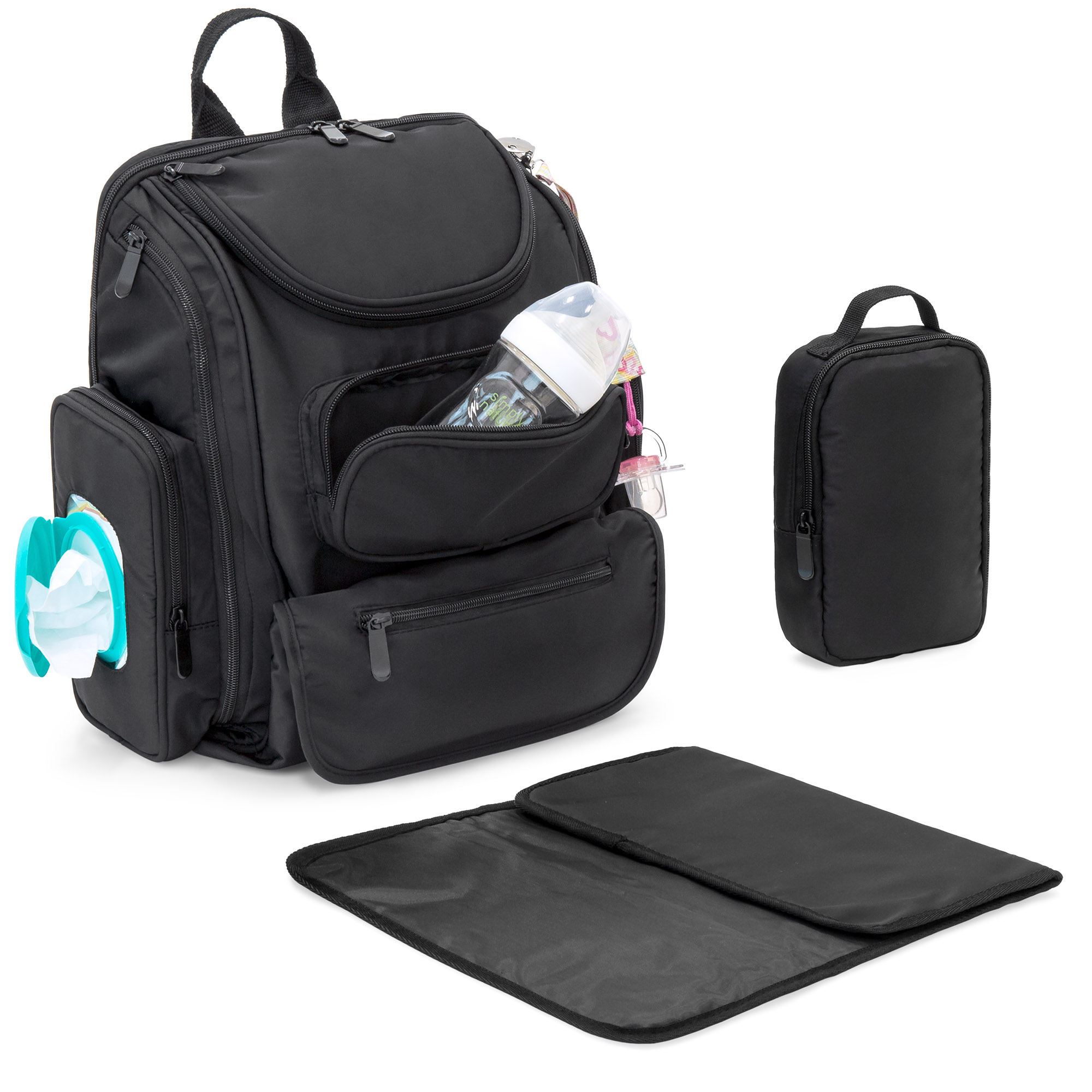 Best Choice Products Baby Diaper Bag Backpack w/ 14 Pockets, Stroller Straps, Changing Pad, Sundry Bag - Black