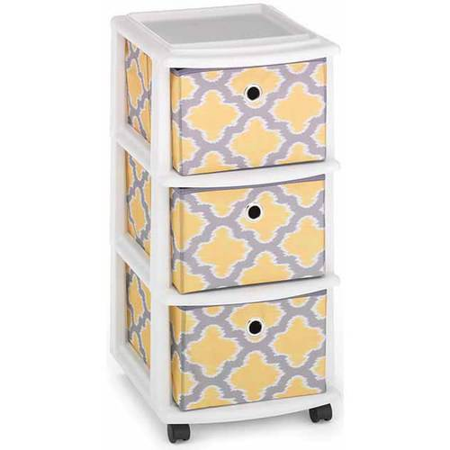 Homz Medium Cart With 3 Drawers, Set Of