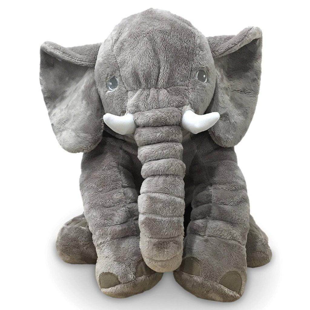 "Large 24"" Stuffed Animal Soft Cushion Grey Elephant Plush Toy for Kids by Posch"