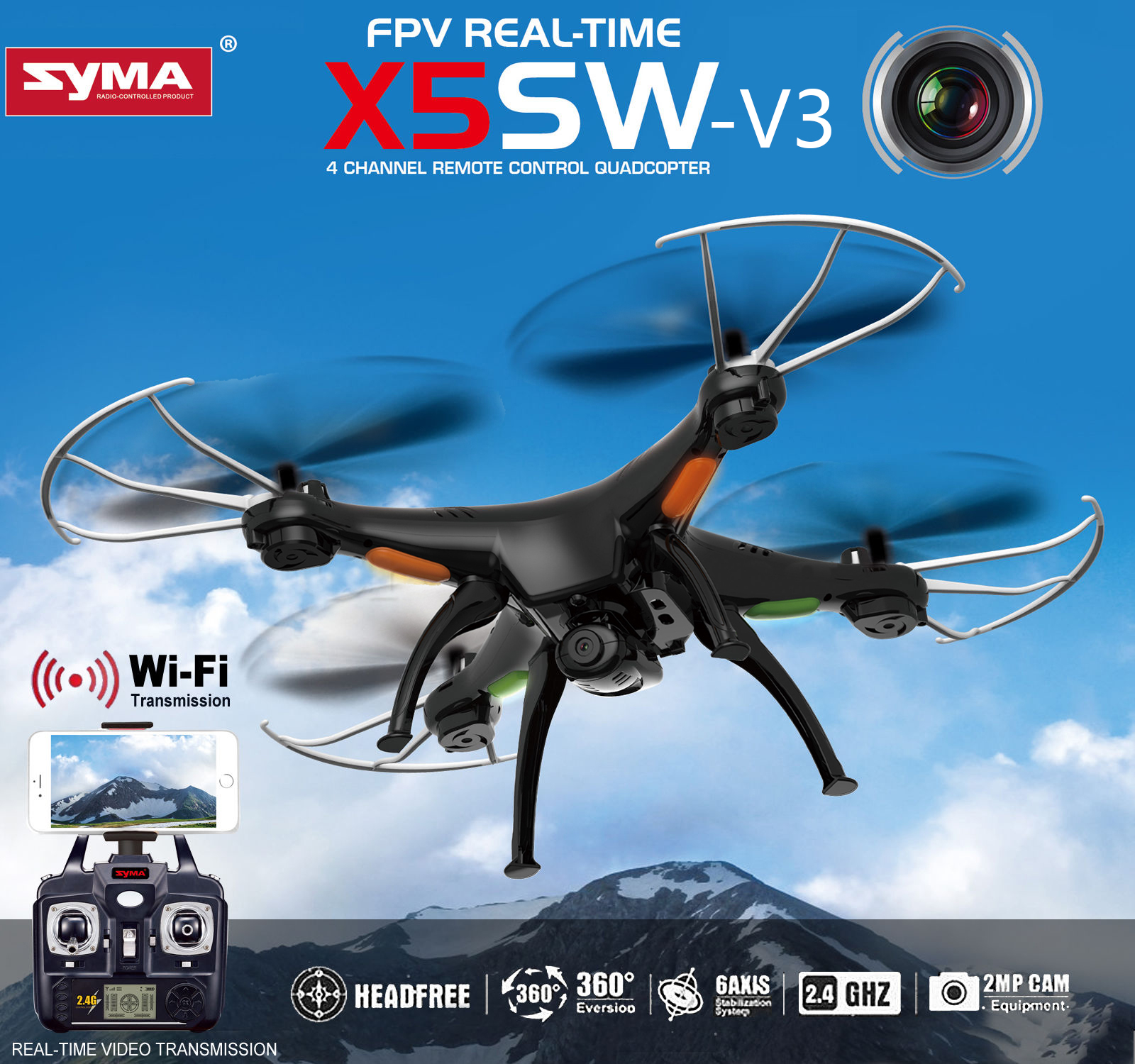 Syma X5SW-V3 FPV 2.4Ghz 4CH 6-Axis Gyro RC Quadcopter Drone UFO Headless Mode with HD... by Cheerwing