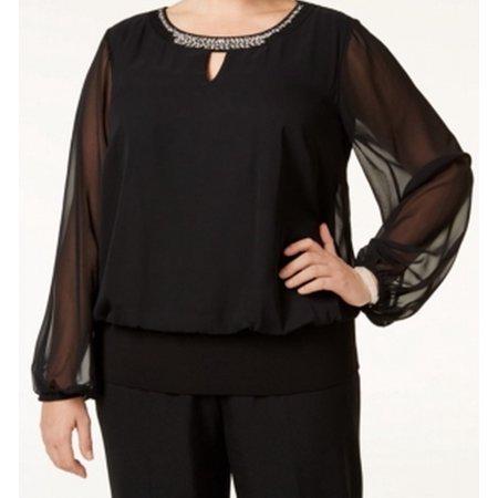 9eef4704136 MSK NEW Black Womens Size 1X Plus Embellished Keyhole Sheer Blouse -  Walmart.com