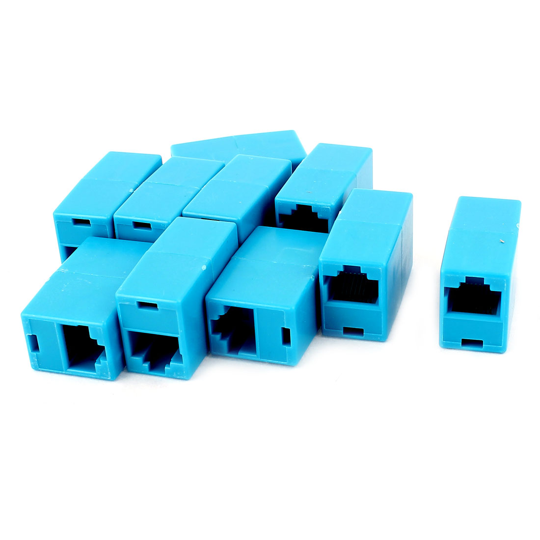 10Pcs RJ45 8P8C F/F Network Cable Connector Adapter Extender Coupler Blue