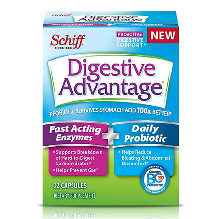 Digestive Advantage Fast Acting Enzymes And Daily Probiotic Capsules, 32