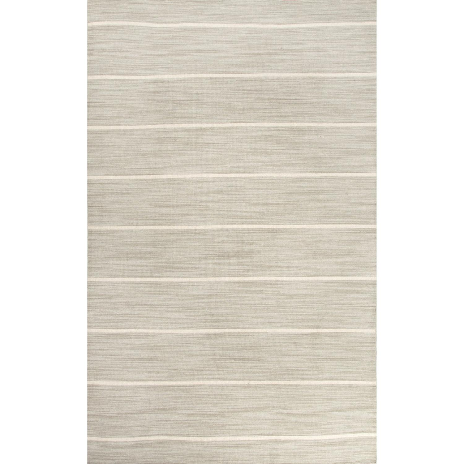 8' x 10' Ash Gray and Snow White Cape Cod Flat Weave Wool Area Throw Rug