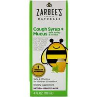 Naturals, Children's Cough Syrup + Mucus, with Dark Honey, Natural Grape Flavor, 4 fl oz (118 ml)