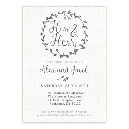 Personalized Wedding Bridal Shower Invitation - Couples Wreath - 5 x 7 Flat