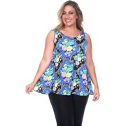 White Mark Women's Plus Size Paisley Tank Top Blue Paisley Plus Size Tank Top -3XL