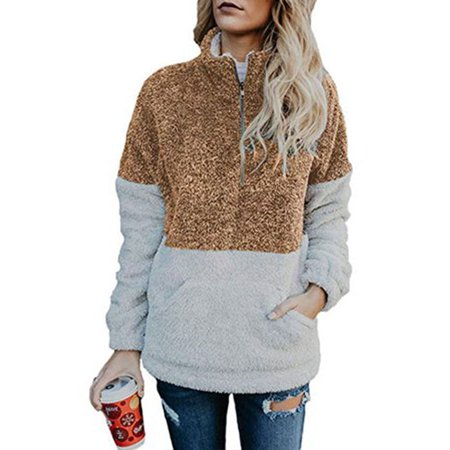 Womens Sweatshirt 1/4 Zip Up Faux Fleece Pullover Hoodies Coat Tops Outwear