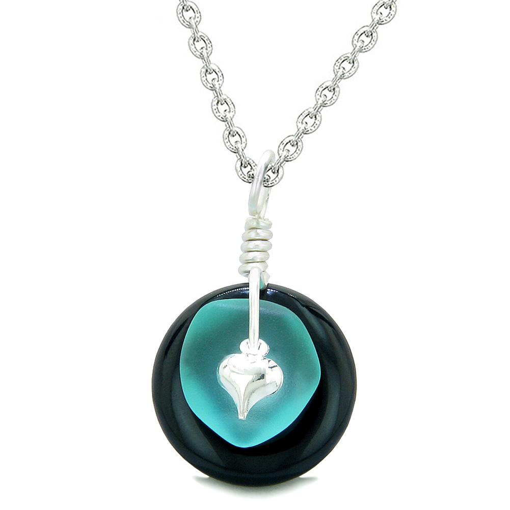 Inspirational Try Me I Am Special Fun Amulet Lucky Charm Donut Black Agate Pendant 18 Inch Necklace