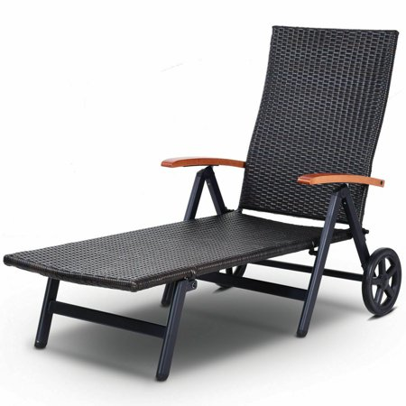 Gymax Folding Back Adjustable Aluminum Rattan Lounger Recliner Chair W/ Wheels Brown (Trapeze Lounger)