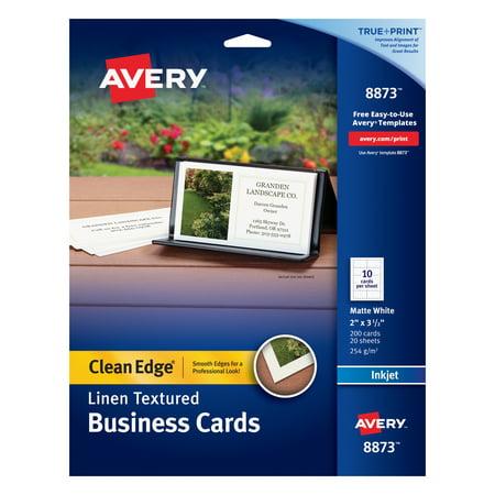 Avery Linen Texture True Print Business Cards, Inkjet, 2 x 3 1/2, Linen White, 200/Pk