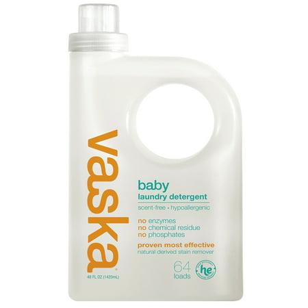 Vaska Baby Laundry Detergent, Scent Free, 64 Loads
