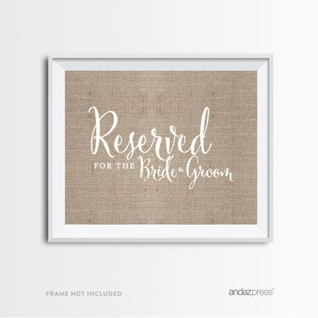 Reserved For The Bride & Groom Burlap Wedding Party Signs