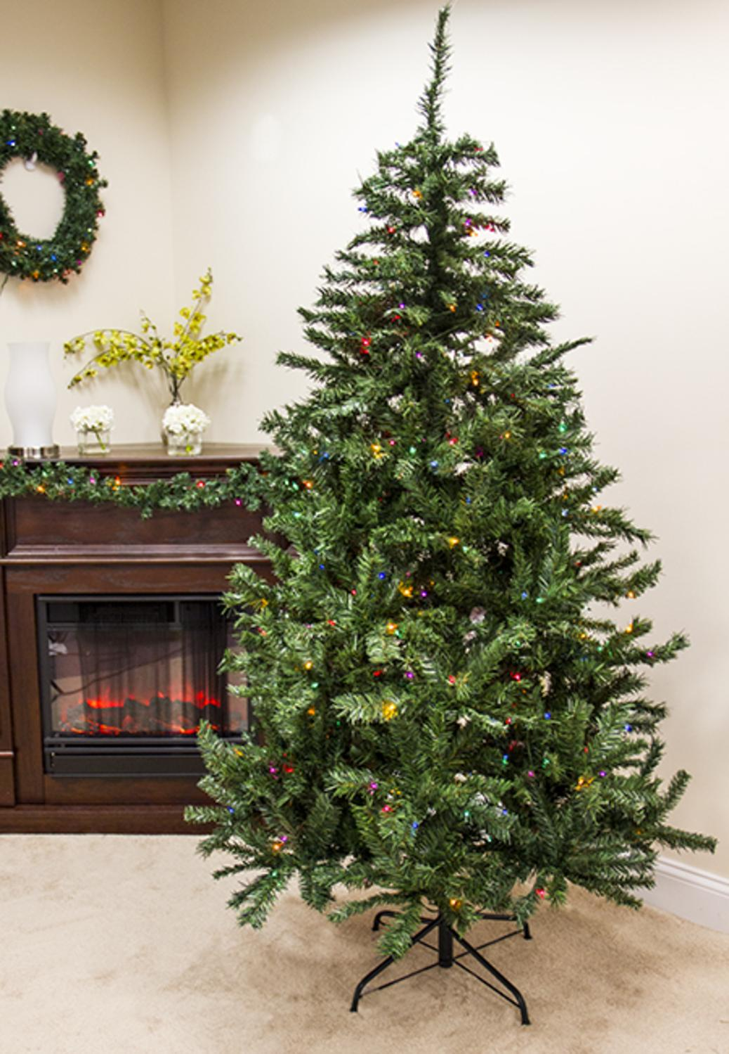 7.5\' Pre-Lit Traditional Mixed Pine Artificial Christmas Tree ...