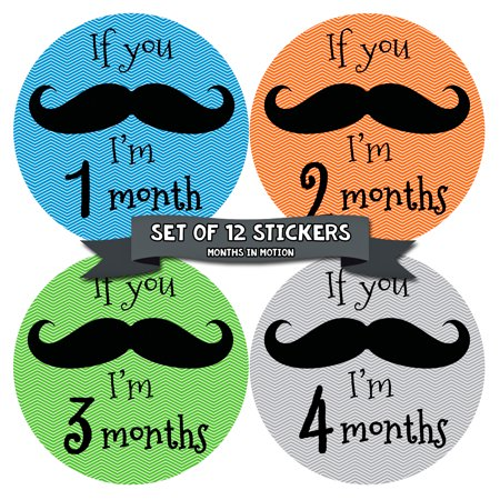 Months in Motion 140 Monthly Baby Stickers Milestone Age Photo Prop Boy Mustache for $<!---->