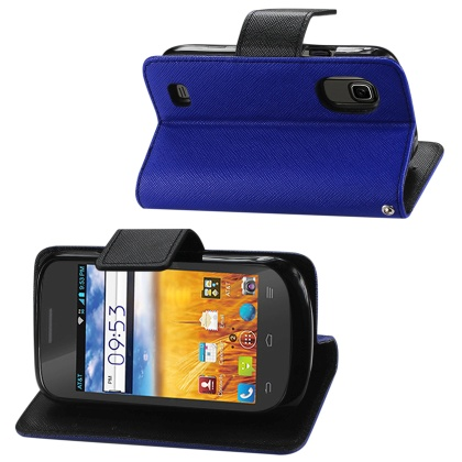 Wallet Case 3 In 1 For Zte Z993 Z992 Prelude/Avail 2 Navy With Interior Leather-Like Material And Polymer Cover
