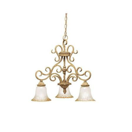 Kichler 3 Light Golden Brulee And Golden Antique Etched Glass -