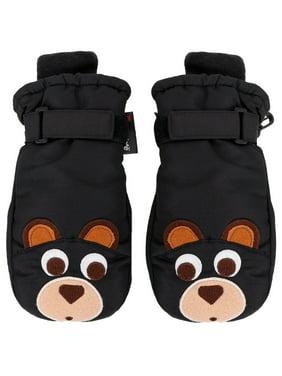 Girls Bear Applique Winter Thinsulate Lined Waterproof Ski Mittens