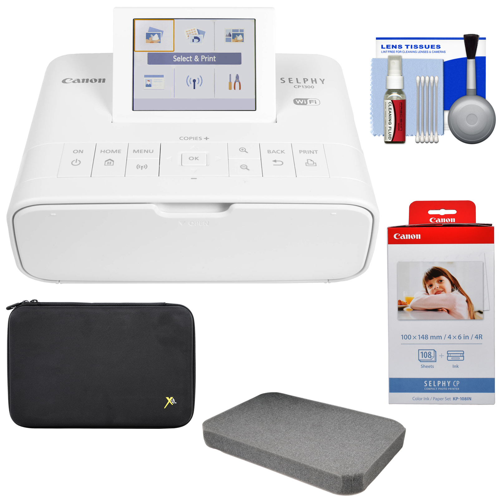 Canon SELPHY CP1300 Wi-Fi Wireless Compact Photo Printer (White) with KP-108IN Color Ink Paper Set + Custom Case + Kit